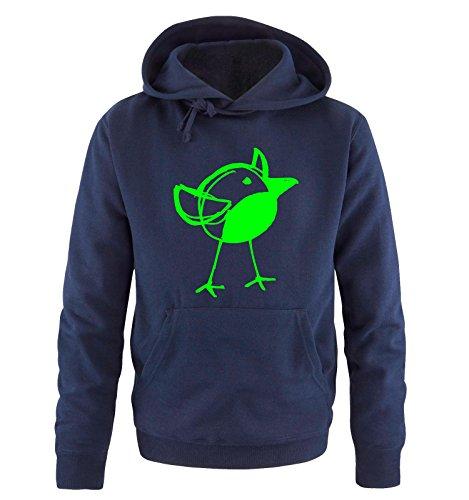 Comedy Shirts - DICKYBIRD - Uomo Hoodie cappuccio sweater - taglia S-XXL different colors blu navy / neon verde