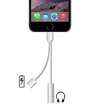 ARTLU® 2 en 1 Adaptateur Lightning USB Câble Chargeur 3.5mm Jack Audio,IPHONE 7 Port Lightning vers Jack 3,5 mm femelle audio casque câble adaptateur four IOS10.3 (Argent)