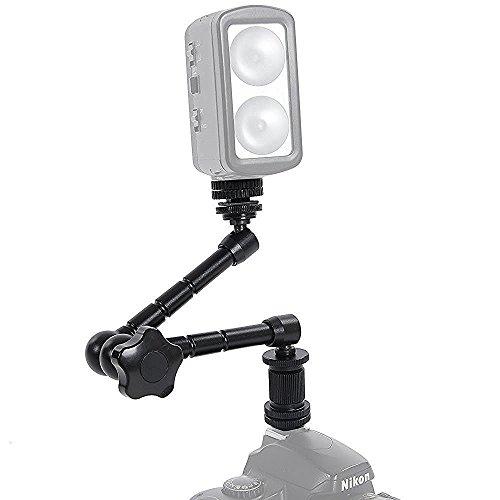 "Magic Arm, Cam ulata Adjustable Friction Articulating Magic Arm 7inch for Hot Shoe Mount DSLR Camera Rig LCD DV Monitor LED Lights Flash Light Dolly Car, Silver, 28cm/11""(Black)"