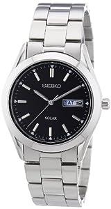 Reloj Seiko SNE039P1 de caballero de cuarzo con correa de acero inoxidable plateada (solar) - sumergible a 30 metros de Seiko