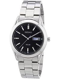 Seiko Herren-Armbanduhr XL Solar Analog Quarz Leder SNE039P1