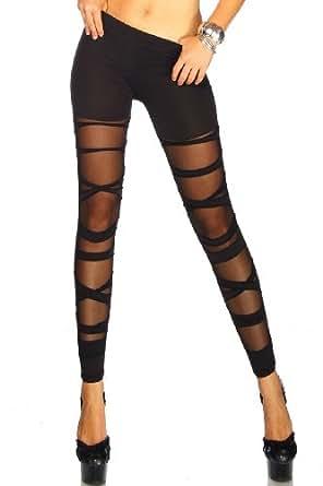 New Fashion Sexy Stretch Damen Leggings überqueren Straps Netz Strumpfhose Enge