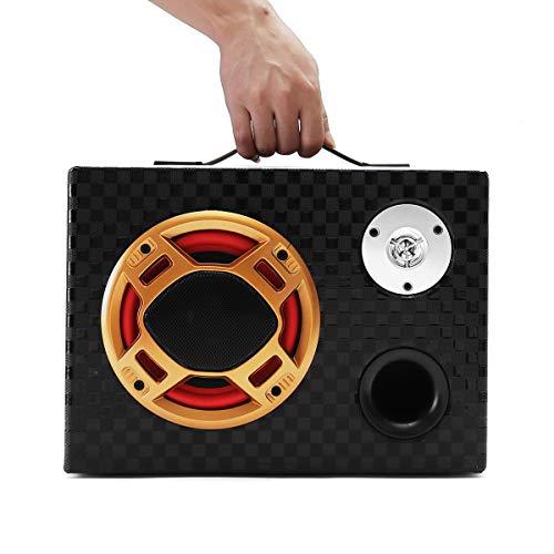 AVANI EXCHANGE 6 Inch 12V 24V 220V Remote Control Bluetooth Square Leather Car Home Audio Subwoofer Power Speaker (Home Power Subwoofer)