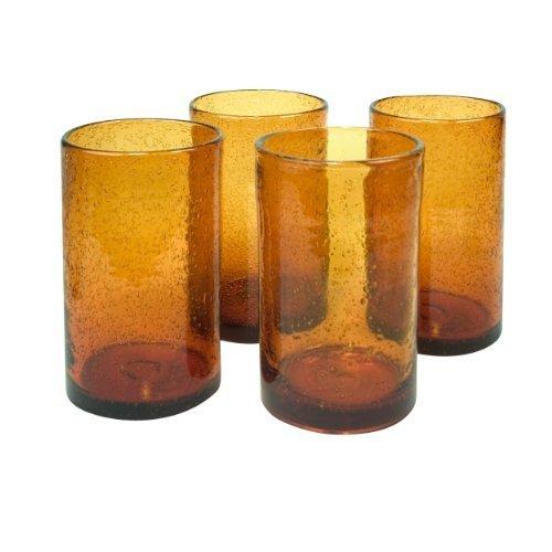 Artland Iris Highball Glasses, Amber, Set of 4 by Artland (Highball Iris)