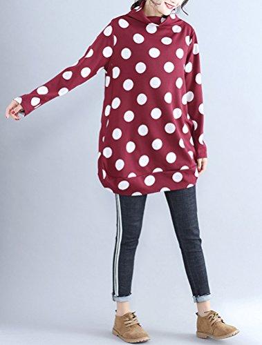 MatchLife Femme Top a Pois Lache Sweatshirt Col Roulé Manches Longues Rouge
