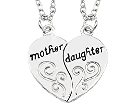 Idea Regalo - Inception Pro Infinite Due Collane Di Un Ciondolo A Forma Di Cuore Spezzato A Meta' Con Scritta Mother Daughter Madre E Figlia Idea Regalo