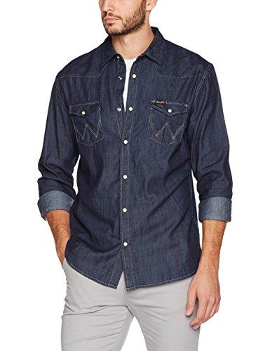 Wrangler western denim shirt, camicia di jeans uomo, blu (rinse indigo we), x-large (taglia produttore: 00/xl)