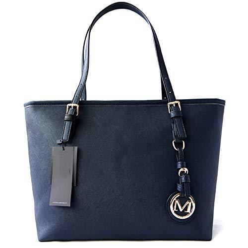 Kieuyhqk Damen Multifunktions Mode Leder Handtasche Schultertasche Business Handtasche Damen Casual Handtasche Schulter-Handtasche (Color : Dark Blue)
