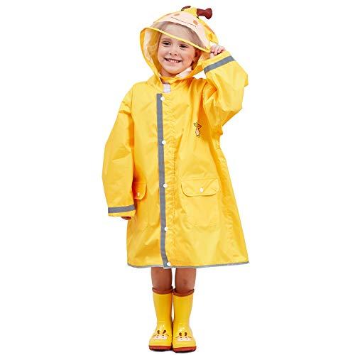 Bwiv impermeabile bambina poncho pioggia bambino mantella antipioggia bimbo con striscia riflettente leggero per i bambini 2-10 anni giallo(giraffa) marca m 4-6 anni/statura: 110-125cm