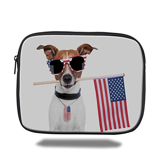 Tablet Bag for Ipad,Dog Lover Decor,American Dog with USA Flag and Shades Sunglasses Anniversary Independence Liberty Decorative,3D Print,Size:15inch