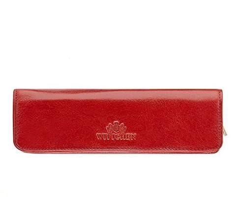 WITTCHEN Damen Stiftetui Kugelschreiber-Etui, 2x16x5.5cm, Rot, Lackleder, Naturleder, Leder, Handmade, (Soy Tabletten)