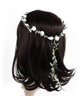 f-eshion flores corona diadema corona guirnalda simulación de Halo con tocado para boda fiestas