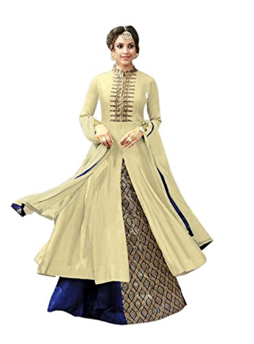 Aika Fashion Women's Cotton Dress Material (S013-Kesari-Cream_Free Size_Beige)