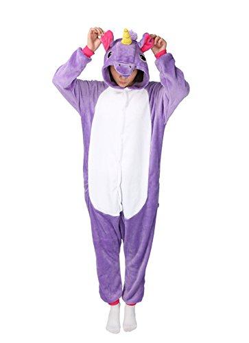 Tier Karton Kostüm Einhorn PyjamaTierkostüme Jumpsuit Erwachsene Schlafanzug Unisex Cosplay M(Höhe152-165CM) Violett