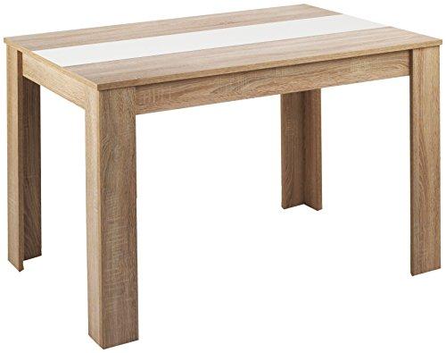 Cavadore 80252 Tisch Nico / Moderner Esstisch mit wendbarer Melaminplatte in Schwarz-Weiß / Melamin Sonoma Eiche / Hellbraun / 140 x 80 x 75 cm (L x B x H)