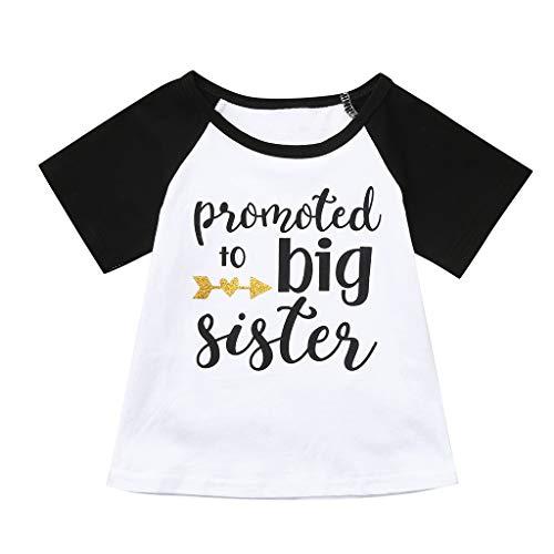 JUTOO Kleinkind Baby Kinder Jungen Mädchen Kurzarm Brief Drucken Tops T-Shirt Kleidung (Schwarz,120) (Jungen Top 2 Spielzeug Für Jährigen)