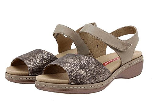 Komfort Damenlederschuh Piesanto 8807 sandale klettverschluss herausnehmbaren einlegesohlen bequem breit Visón