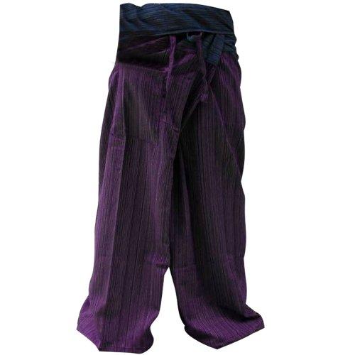 2 TONE Thai Fisherman Hose Yoga Hose FREE Plus Size Cotton Drill Gestreift Blau und Violett -