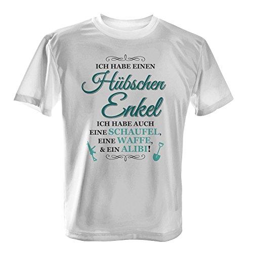Fashionalarm Herren T-Shirt - Ich habe einen hübschen Enkel | Fun Shirt mit Spruch als Geburtstag Geschenk Idee Opa Großvater Enkelsohn Weiß