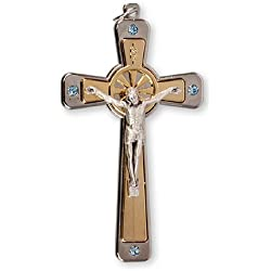 Bleu Cristal de Swarovski 8.9cm Crucifix Pendentif Croix Charm Médaille avec Amour en étain Broche Jeton