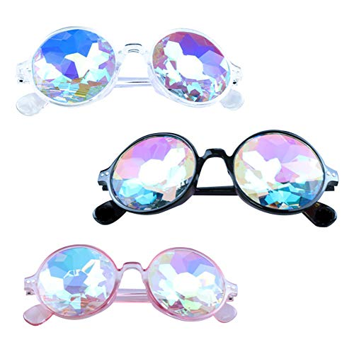 Kaleidoscope Steampunk Goggles Multicolor Lens Glasses Festival Rave Round Rainbow Glasses Lichtshow