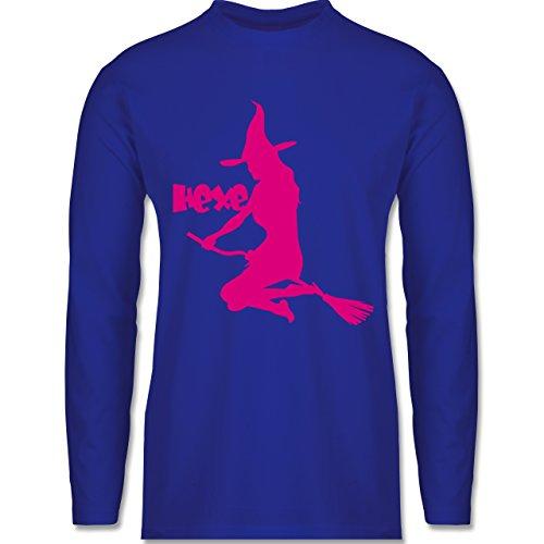Halloween - Hexe auf dem Besen - Longsleeve / langärmeliges T-Shirt für Herren Royalblau