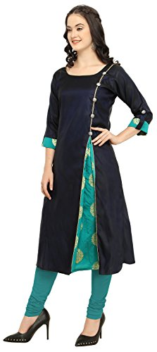 Divine-International-Trading-Co-Womens-Satin-Taffeta-With-Jacquard-Brocade-Side-Slit-Anarkali-A-Line-Long-Kurti