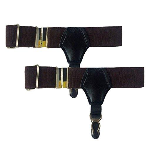 Jelinda 1 Paire de chaussettes Unisexe Noir Sexy avec porte-jarretelles et sangles porte-jarretelles avec Clips Métal (FBA) Marron - Café