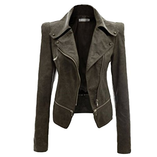NiSeng Donna Giacca in Pelle Chiodo Biker Zip Bomber Pelle Giubbotto Punk Stile Moto Collare Esercito S