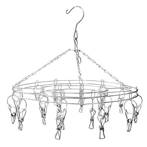 Étendoir à linge à suspendre avec 20 pinces - Pliable Étendoir Crochet acier inoxydable à l'épreuve du vent pour chaussettes,sous -vêtements,vêtements ,serviettes