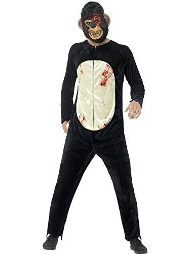 Herren Kostüm Zombie Affe Schimpanse Overall Maske Halloween (Maske Kostüm Schimpanse)