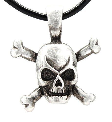 Trilogy Jewelry Zinn Totenkopf und gekreuzte Knochen Pirat Anhänger Auf Leder Halskette