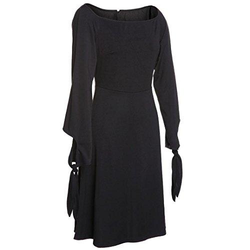 Manadlian Femmes Robe Cache Cœur Elégante Cocktail Soirée Robe Femme Col Bateau Manches Courtes Robe Noir