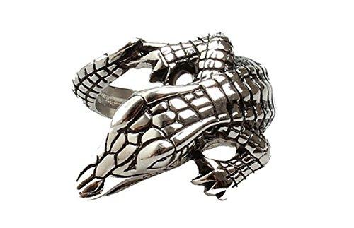 SanJiu Schmuck Herren Ringe Edelstahl Ring Krokodil Retro Gotik Biker Punk Klassisch Ring für Herren Silber Schwarz Größe 57 (Kostüm Mens Krokodil)