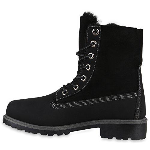 Stiefelparadies Damen Worker Boots Warm Gefütterte Stiefeletten Outdoor Schuhe Profilsohle Camouflage Stiefel Winterschuhe Übergrößen Flandell Schwarz All