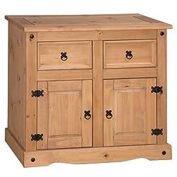 Corona 2 Door 2 Drawer Small Sideboard, Pine, Brown
