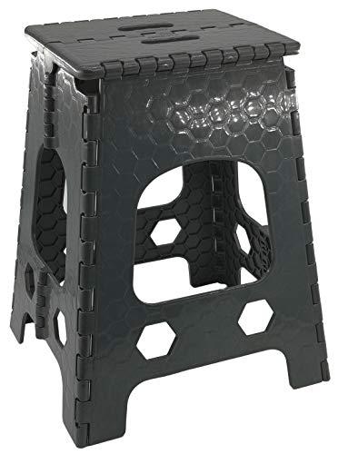 Stabiler Tritthocker/Klapphocker - Hocker mit Griff - zusammenklappbat - bis 120kg - ver. Höhen - Sitzhocker aus Kunststoff - Campinghocker - anthrazit (Groß - 36 x 32 x 46 cm) -