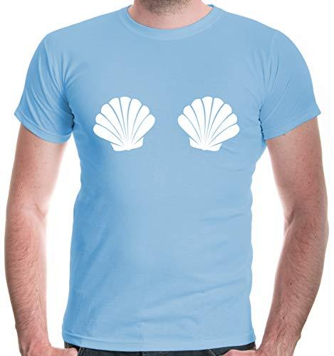 Hula Männer Girl Kostüm - buXsbaum® Herren T-Shirt Muschel Kostüm | Bikini Fasching | M, Blau