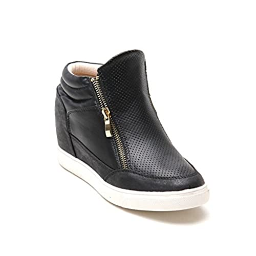 Women Ladies New Trainers Wedge Side Gold Zips Smart Shoes Casual Size UK  3-8¡