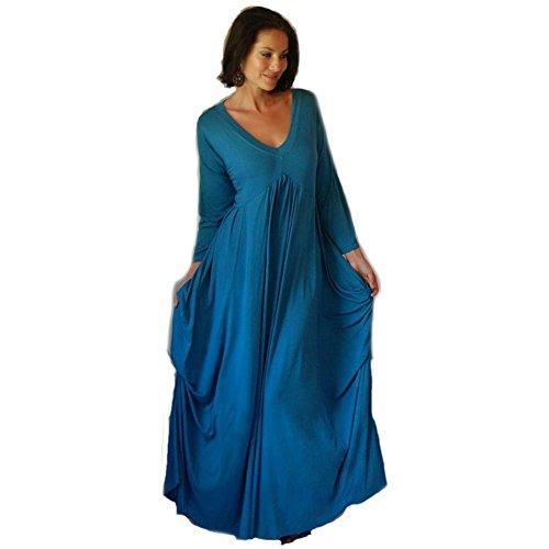 ASYM MAXI DRESS LYCRA FABULOUS CHIC [E304] Teal