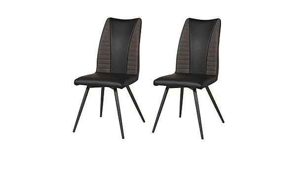 L 45 x P 43 cm AUCUNE Contemporain ROUVENE Lot de 2 chaises de salle a manger en m/étal Simili et tissu taupe