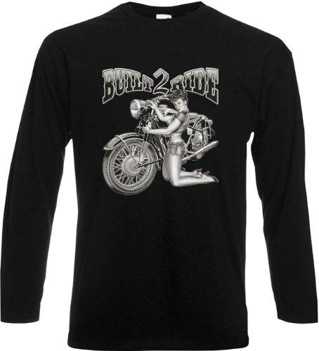 Cooles Herren Langarmshirt, Farbe: Grau, Halloween Motiv: Built two Ride Schwarz