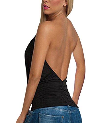 ZANZEA Femme Sexy Col V Halter Dos Nu Sans Manches Débardeur Shirt Haut Tops Blouse Noir