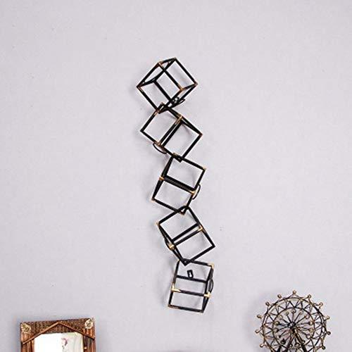 Weinregal Retro Metall Quadrat Weinregal Wand Weinschrank Kreative Fünf-schicht Becher Weinregal Weinregal Set Weinregal (tuch: Metall) Robust, langlebig ( Farbe : Schwarz , Größe : Free size )