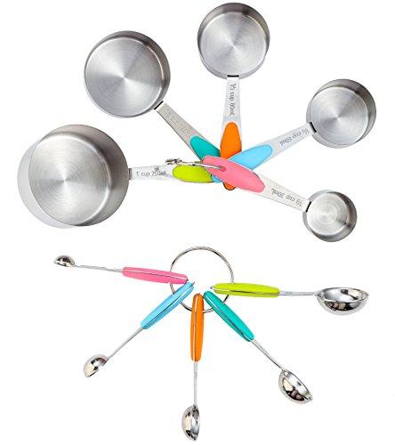Asgii (TM) 10pezzi da cucina in acciaio inox misurazione tazza con beccuccio e cucchiaio set, tazze e brocche per cottura e con manico in silicone - Mais Acqua Sciroppo