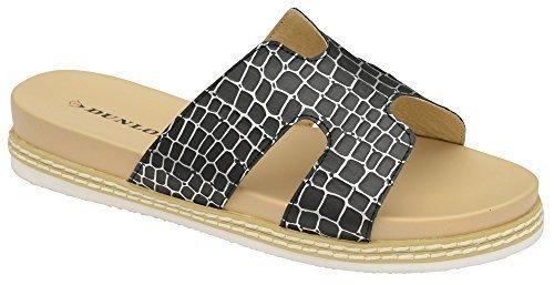 Dunlop Damen Memorey Schaum Freizeit Komfort Ohne Bügel Kroko Schuhe Sandalen Schwarz