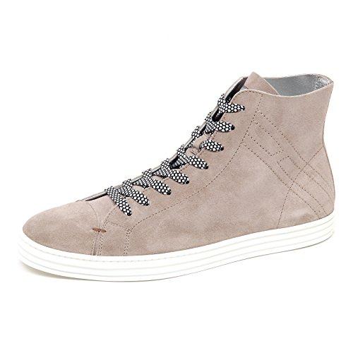 Hogan E3042 Homme Sneaker Rebel R141 Salut Haut Non Doublé Tortora Chiaro Chaussure Homme Taupe Léger