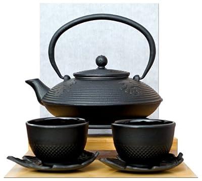 Dessous de plat feuille Cups & Théière en fonte Noir/motif calligraphie 0,8l style japonais