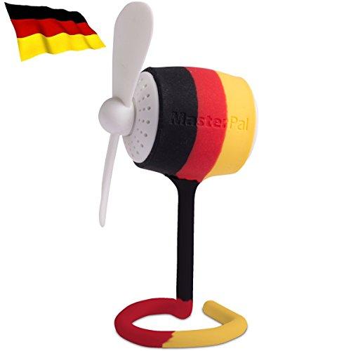 Preisvergleich Produktbild MasterPal Telego Fan (Deutsche Flagge): Ein Tragbarer Mini Klein USB Wasserdichter Wieder Aufladbarer Batterie Leistungsstarker 10.000 RPM Ventilator mit Aroma Spender Funktion