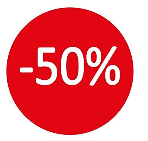 Takestop rotolo da 400 etichette adesive 35mm -50% bollo rosso scritta bianca adesivo removibile saldi sconti